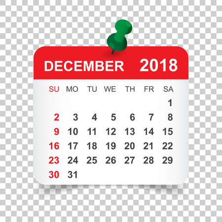 December 2018 calendar. Calendar sticker design template. Week starts on Sunday. Business vector illustration. Illustration