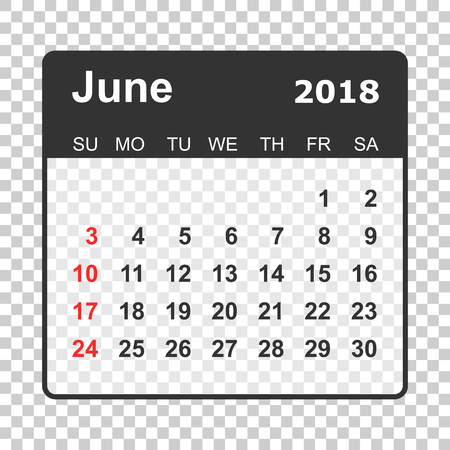June 2018 calendar. Calendar planner design template. Week starts on Sunday. Business vector illustration.
