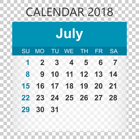 July 2018 calendar. Calendar sticker design template. Week starts on Sunday. Business vector illustration.