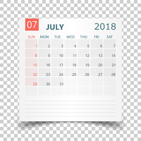 July 2018 calendar. Calendar sticker design template. Week starts on Sunday. Business vector illustration.