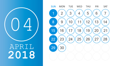 calendar page: April 2018 calendar. Calendar planner design template. Week starts on Sunday. Business vector illustration.