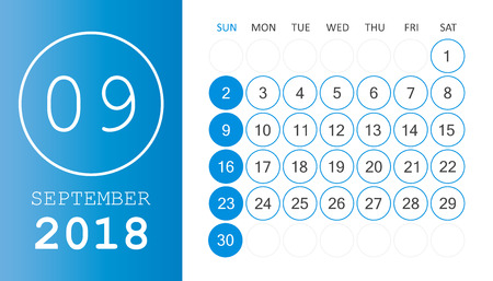 September 2018 calendar. Calendar planner design template. Week starts on Sunday. Business vector illustration. Ilustração