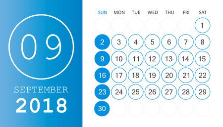 September 2018 calendar. Calendar planner design template. Week starts on Sunday. Business vector illustration. Illustration
