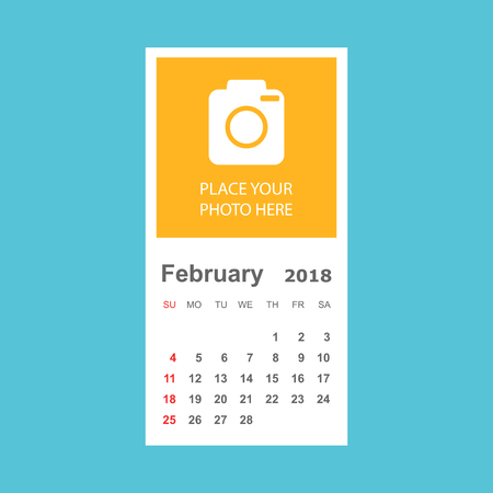 February 2018 calendar. Calendar planner design template with place for photo. Week starts on sunday. Business vector illustration.