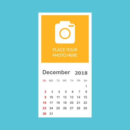 December 2018 calendar. Calendar planner design template with place for photo. Week starts on sunday. Business vector illustration. Illustration