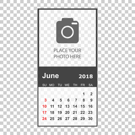 June 2018 calendar. Calendar planner design template with place for photo. Week starts on sunday. Business vector illustration.
