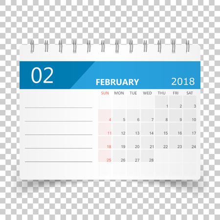 February 2018 calendar. Calendar planner design template. Week starts on Sunday. Business vector illustration. Ilustração