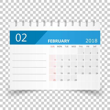 February 2018 calendar. Calendar planner design template. Week starts on Sunday. Business vector illustration. Illustration