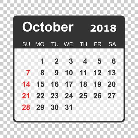 October 2018 calendar. Calendar planner design template. Week starts on Sunday. Business vector illustration. Illustration