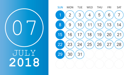 July 2018 calendar. Calendar planner design template. Week starts on Sunday. Business vector illustration. Ilustração