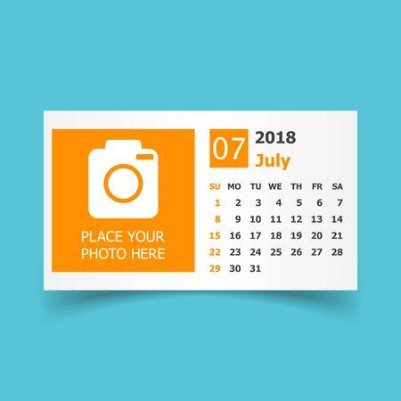 July 2018 calendar. Calendar planner design template with place for photo. Week starts on sunday. Business vector illustration. Иллюстрация