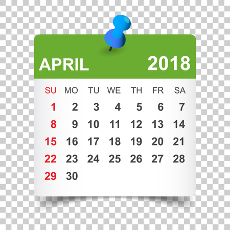 April 2018 calendar. Calendar sticker design template. Week starts on Sunday. Business vector illustration.