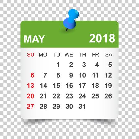 May 2018 calendar. Calendar sticker design template. Week starts on Sunday. Business vector illustration.