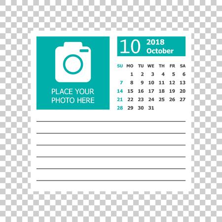 October 2018 calendar. Calendar planner design template. Week starts on Sunday. Business vector illustration. Иллюстрация