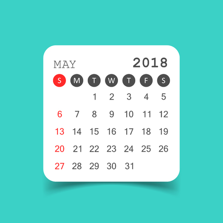 May 2018 calendar. Calendar sticker design template. Week starts on Sunday. Business vector illustration.