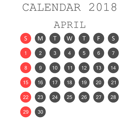 April 2018 calendar. Calendar planner design template. Week starts on Sunday. Business vector illustration.