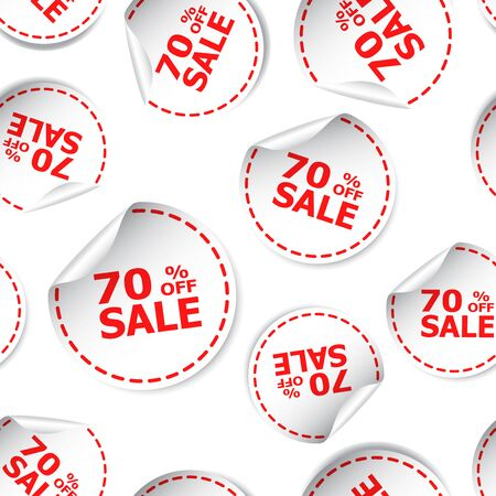 Sale 70 percent off sticker seamless pattern background icon. Business flat vector illustration.
