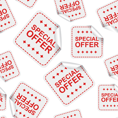 Special offer sticker seamless pattern background icon. Business flat vector illustration. Ilustração