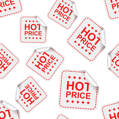 Hot price sticker seamless pattern background icon. Business flat vector illustration. Illustration