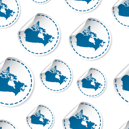 Canada map sticker seamless pattern background. Business concept label pictogram.
