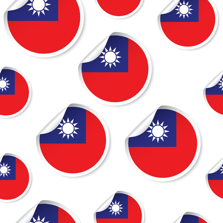 Taiwan flag sticker seamless pattern background. Business concept label pictogram. Illusztráció