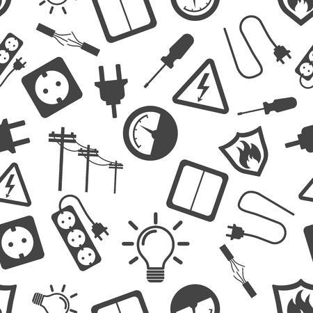 Electricity seamless pattern background icon. Business flat vector illustration. Çizim