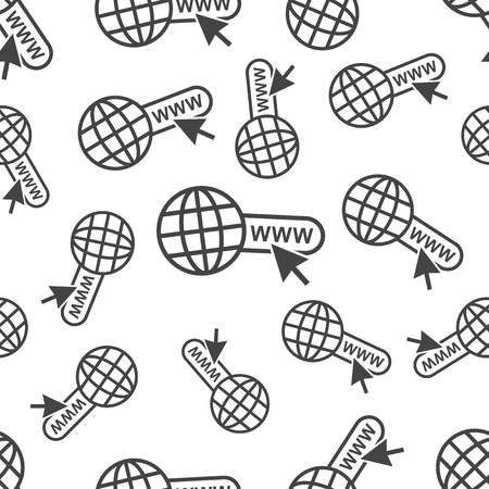 Go to web seamless pattern background icon. Business flat vector illustration. World network sign symbol pattern. Иллюстрация
