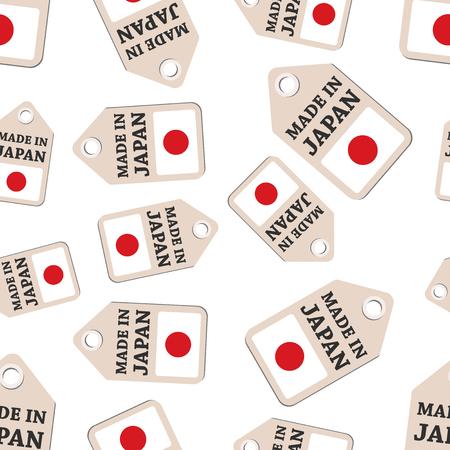 Hang tag gemaakt in Japan sticker met vlag naadloze patroon achtergrond. Zakelijke platte vectorillustratie. Gemaakt in het tekensymboolpatroon van Japan.