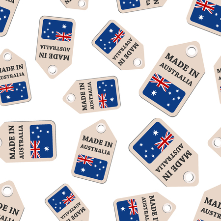 Hang tag made in Australia sticker with flag seamless pattern background. Business flat vector illustration. Made in Australia sign symbol pattern.