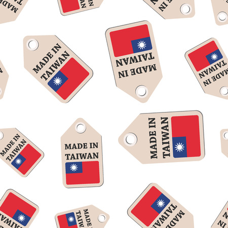Hang tag made in Taiwan sticker with flag seamless pattern background. Business flat vector illustration. Made in Taiwan sign symbol pattern.