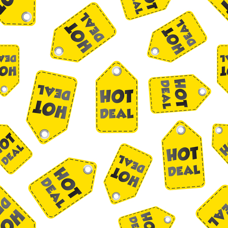Hot deal hang tag seamless pattern background. Business flat vector illustration. Hot deal shopping sign symbol pattern.