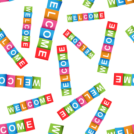 Welcome colorful card seamless pattern background. Business flat vector illustration. Welcome sign symbol pattern.