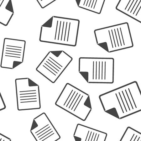 Document naadloze patroon achtergrond. Zakelijke platte vectorillustratie. Opmerking paginateken symbool patroon.