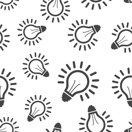 Light bulb seamless pattern background. Business flat vector illustration. Lighting electric lamp sign symbol pattern. Vettoriali