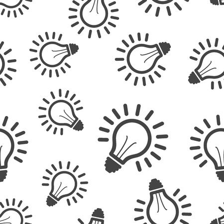 Light bulb seamless pattern background. Business flat vector illustration. Lighting electric lamp sign symbol pattern. Illustration