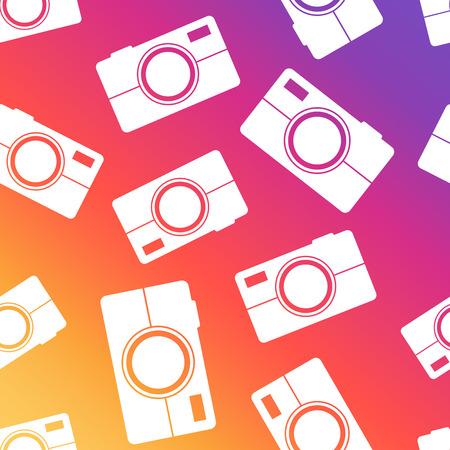 Camera seamless pattern background. Business flat vector illustration. Camera sign symbol pattern. Illustration