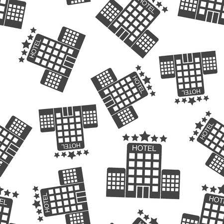 A Hotel seamless pattern background. Business flat vector illustration.