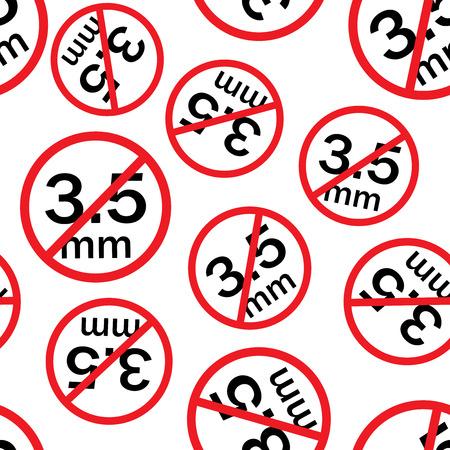 Audio jack 3.5mm in ban seamless pattern background. Business flat vector illustration. Audio jack sign symbol pattern.
