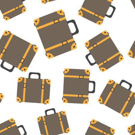 Suitcase seamless pattern background. Business flat vector illustration. Case for tourism, journey, trip, tour, voyage, summer vacation sign symbol pattern. Ilustrace