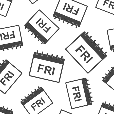Friday calendar page seamless pattern background. Business flat vector illustration. Friday sign symbol pattern.