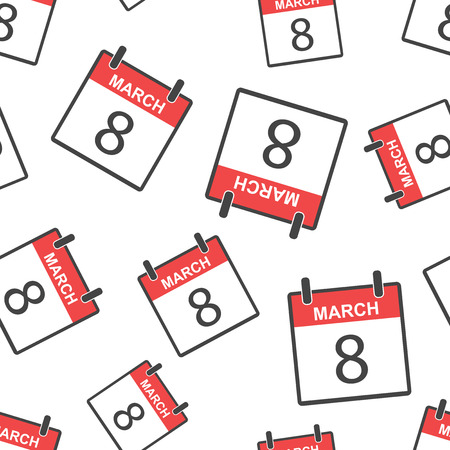 March 8 calendar page seamless pattern background. Business flat vector illustration. March 8 sign symbol pattern. Stock Illustratie