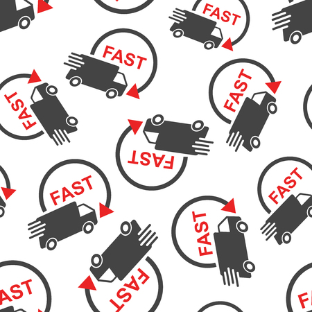 Delivery truck seamless pattern background. Business flat vector illustration. Fast delivery service shipping sign symbol pattern. Stock Vector - 91349662