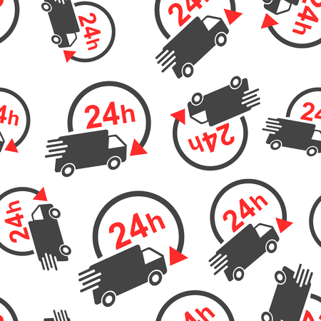 Delivery truck 24h seamless pattern background. Business flat vector illustration. 24 hours fast delivery service shipping sign symbol pattern.
