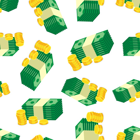 Stacks of gold coins and dollar cash seamless pattern background. Business flat vector illustration. Money sign symbol pattern. Ilustrace