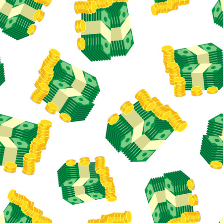 Stacks of gold coins and dollar cash seamless pattern background. Business flat vector illustration. Money sign symbol pattern. Illustration