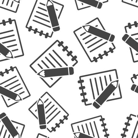 Document with pencil seamless pattern background. Business flat vector illustration. Document concept sign symbol pattern.