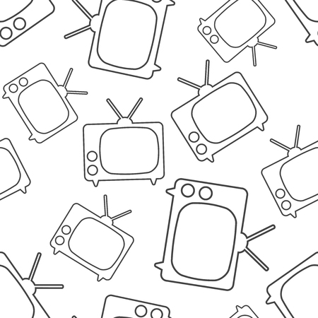 Tv icon in line style seamless pattern background. Business flat vector illustration. Television sign symbol pattern. 向量圖像
