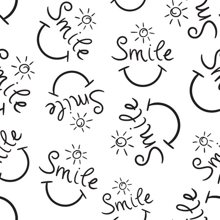 Smile text seamless pattern background. Business flat vector illustration. Hand drawn face doodle sign symbol pattern.