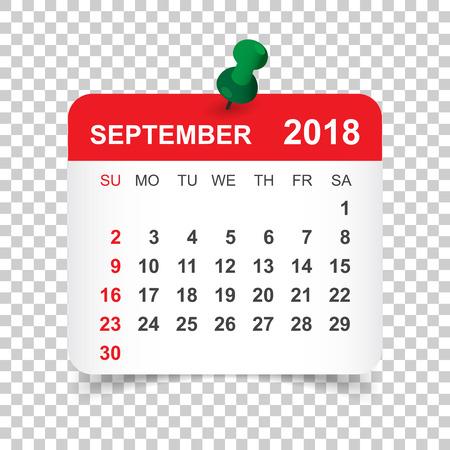 September 2018 calendar. Calendar sticker design template. Week starts on Sunday. Business vector illustration. Vectores