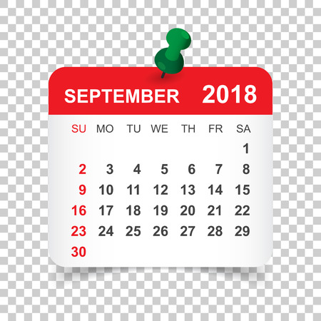 September 2018 calendar. Calendar sticker design template. Week starts on Sunday. Business vector illustration. Ilustrace
